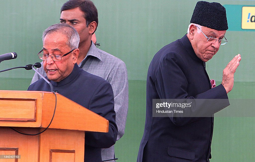 Union Finance Minister Prananb Mukherjee and Union New and Renewable Energy Minister <a gi-track='captionPersonalityLinkClicked' href=/galleries/search?phrase=Farooq+Abdullah&family=editorial&specificpeople=2291127 ng-click='$event.stopPropagation()'>Farooq Abdullah</a> at the inauguration of 31st India International Trade Fair (ITTF) at Pragati Maidan on November 14, 2011 in New Delhi, India.