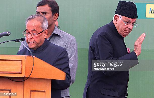 Union Finance Minister Prananb Mukherjee and Union New and Renewable Energy Minister Farooq Abdullah at the inauguration of 31st India International...