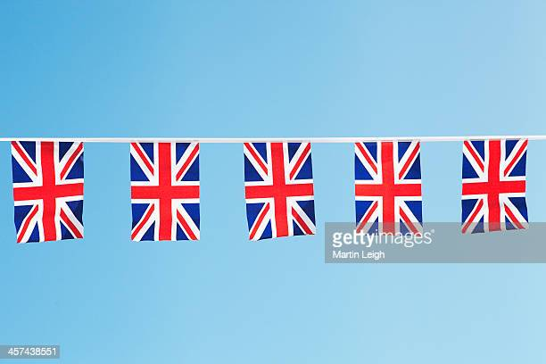union flag bunting against clear blue sky