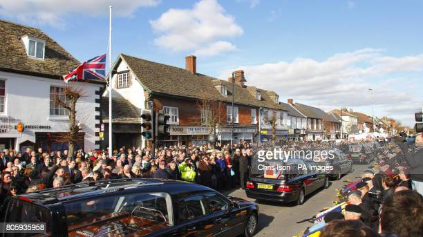 A Union flag flies at half mast as the funeral cortege of four fallen servicemen Rifleman Martin Kinggett from 4 Battalion The Rifles Sergeant Paul...