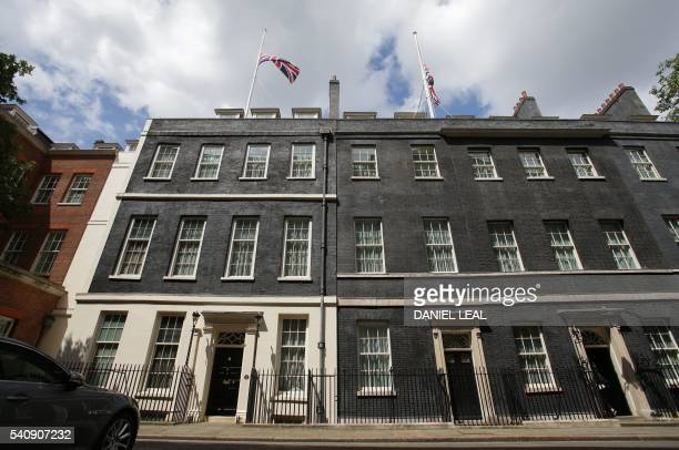 Union flags fly at half mast from the roof of Downing Street in honour of slain Labour MP Jo Cox in London on June 17 2016 Labour MP Jo Cox a...