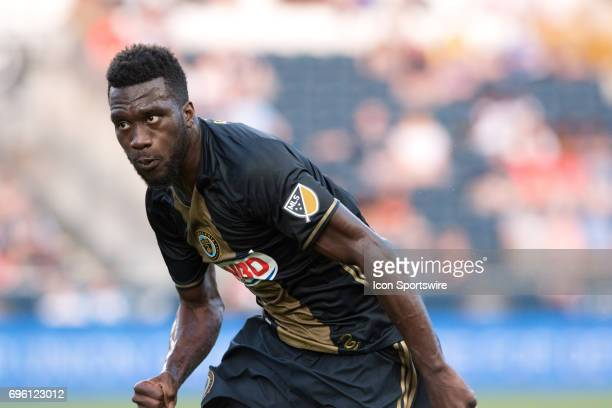 Union Forward CJ Sapong chases down the ball in the first half during the US Open Cup Game between the Harrisburg City Islanders and the Philadelphia...