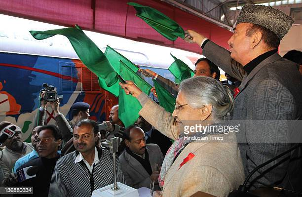 Union Health Minister Ghulam Nabi Azad and Chief Minister of Delhi Sheila Dixit attend the flagging off of the Red Ribbon Express train at Safdar...