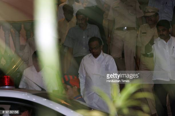 Union Home Minister P Chidambaram comes out after meeting at Sahyadri Guest House at Malabar hill on Tuesday