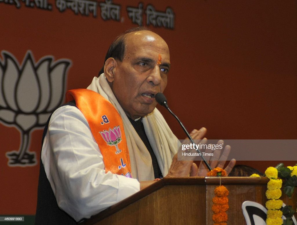 Union Home Minister <a gi-track='captionPersonalityLinkClicked' href=/galleries/search?phrase=Rajnath+Singh&family=editorial&specificpeople=582959 ng-click='$event.stopPropagation()'>Rajnath Singh</a> addresses during the BJP Scheduled Caste Front National Executive meeting on January 3, 2015 in New Delhi, India. Singh said India had been offering its hand of friendship to Pakistan, but the neighbouring country continuously violated the ceasefire agreement.