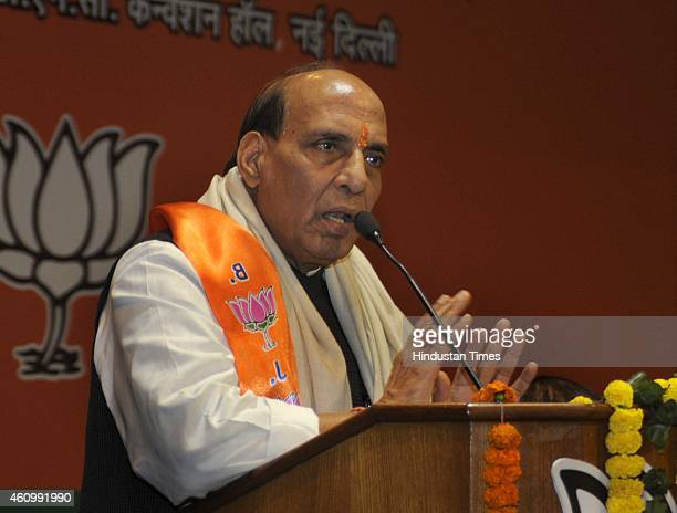 Union Home Minister Rajnath Singh addresses during the BJP Scheduled Caste Front National Executive meeting on January 3 2015 in New Delhi India...