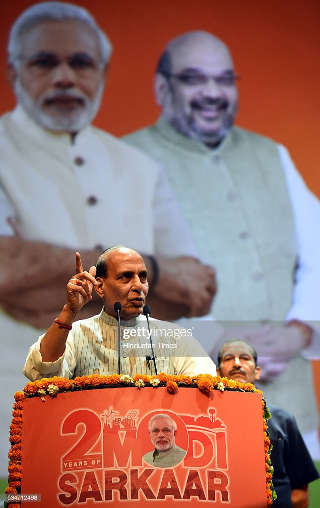 Union Home Minister Rajnath Singh address during the Vikas Parv Function to celebrate the completion of second successful year of the Central Government headed by Prime Minister Narendra Modi at Siri Fort Auditorium on May 27, 2016 in New Delhi, India.