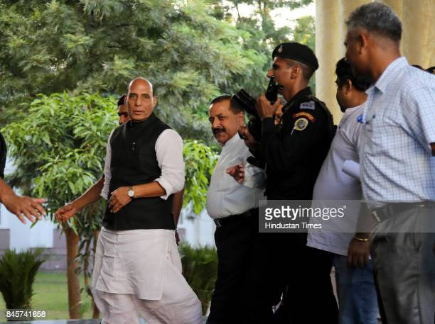 Union Home Minister Rajnath Singh along with MoS in PMO Dr Jitendra Singh arrives in Jammu to meet delegations on his third day of fourday visit to...