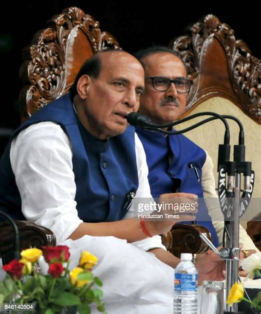 Union Home Minister Rajnath Singh along with MOS in PMO Dr Jitendra Singh and Deputy CM Dr Nirmal Singh addresses a press conference on September 12...