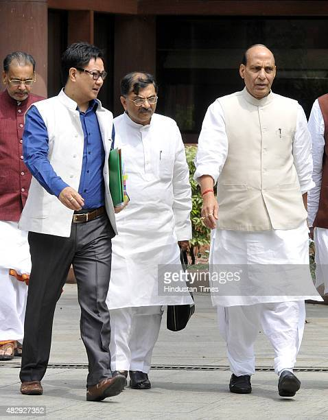 Union Home Minister Rajnath Singh and State Home Minister Kiren Rijiju after attending the BJP Parliamentary Board Meeting during the Monsoon Session...