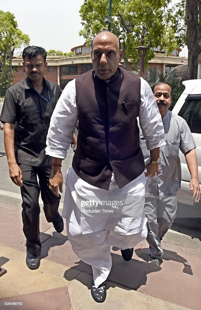Union Home Minister Rajnath Singh arrives for the Parliament Session at Parliament house on May 5, 2016 in New Delhi, India. The Lok Sabha has passed the Insolvency and Bankruptcy code 2016 with all the amendments proposed by the joint committee of Parliament being accepted by the government.