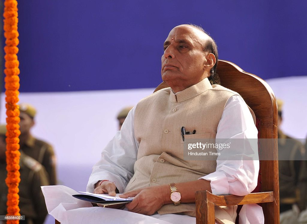 Union Home Minister <a gi-track='captionPersonalityLinkClicked' href=/galleries/search?phrase=Rajnath+Singh&family=editorial&specificpeople=582959 ng-click='$event.stopPropagation()'>Rajnath Singh</a> as the Chief Guest, during the Raising Day Parade organized by Delhi Police, at New Police Lines, Kingsway Camp, on February 16, 2015 in New Delhi, India.