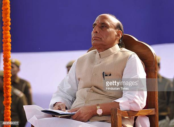 Union Home Minister Rajnath Singh as the Chief Guest during the Raising Day Parade organized by Delhi Police at New Police Lines Kingsway Camp on...