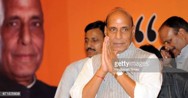 Union Home Minister Rajnath Singh at a meeting of Trader's Association on April 22 2017 in Lucknow India After the meeting Singh said that Chief...
