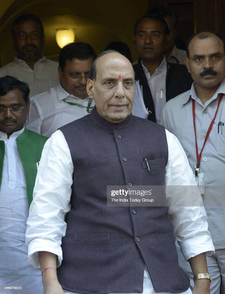 Union Home Minister <a gi-track='captionPersonalityLinkClicked' href=/galleries/search?phrase=Rajnath+Singh&family=editorial&specificpeople=582959 ng-click='$event.stopPropagation()'>Rajnath Singh</a> at Parliament during Parliament Budget Session.