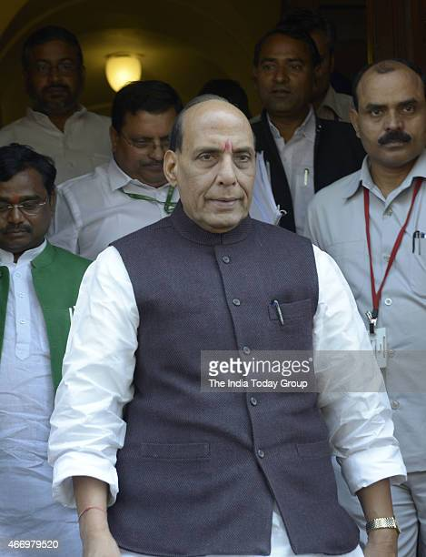 Union Home Minister Rajnath Singh at Parliament during Parliament Budget Session