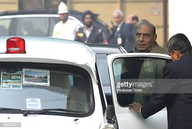 Union Home Minister Rajnath Singh comes out after the BJP Parliamentary Board meeting at BJP Headquarter on December 24 2014 in New Delhi India BJP...