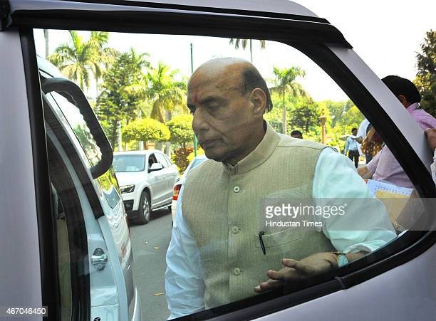 Union Home Minister Rajnath Singh during Budget Session of Parliament on March 20 2015 in New Delhi India Upper House of Parliament passed the Mines...