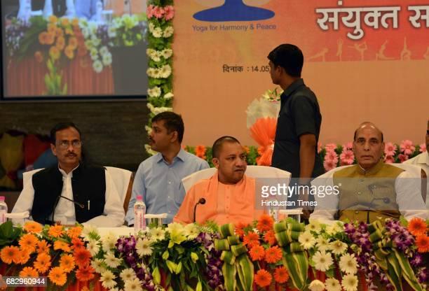 Union Home Minister Rajnath Singh holding a meeting with Uttar Pradesh Chief Minister Yogi Adityanath to discuss International Yoga Day preparations...