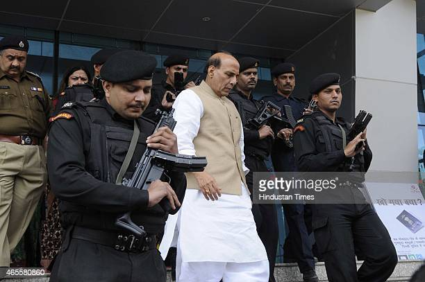 Union Home Minister Rajnath Singh leaves after the self defence skills event 'Say No To Fear' organized by Delhi Police on the occasion of...