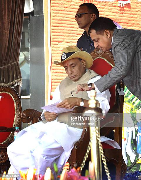 Union Home Minister Rajnath Singh on the occasion of 46th CISF Raising Day Function at Indirapuram on March 10 2015 in Ghaziabad India The Central...