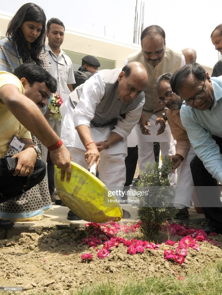 Union Home Minister Rajnath Singh planting a sapling during the inauguration of the new branch of Seth MR Jaipuria School at Kanpur Road, on April 21, 2017 in Lucknow, India. Rajnath said that Sanskrit should be made compulsory in school curriculum from the very beginning to inculcate Indian culture and values among students.