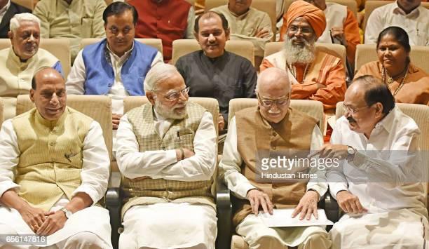 Union Home Minister Rajnath Singh Prime Minister of India Narendra Modi Sr BJP leader and Lok Sabha MP Lal Krishna Advani Union Minister of Urban...