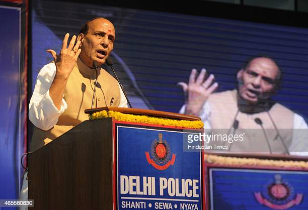 Union Home Minister Rajnath Singh speaking during the self defence skills event 'Say No To Fear' organized by Delhi Police on the occasion of...