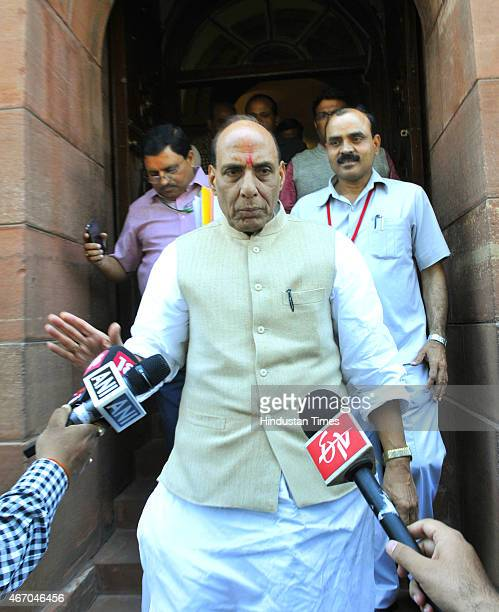 Union Home Minister Rajnath Singh talking to media personnel regarding Kathua terror attack on a Police Station during Budget Session of Parliament...