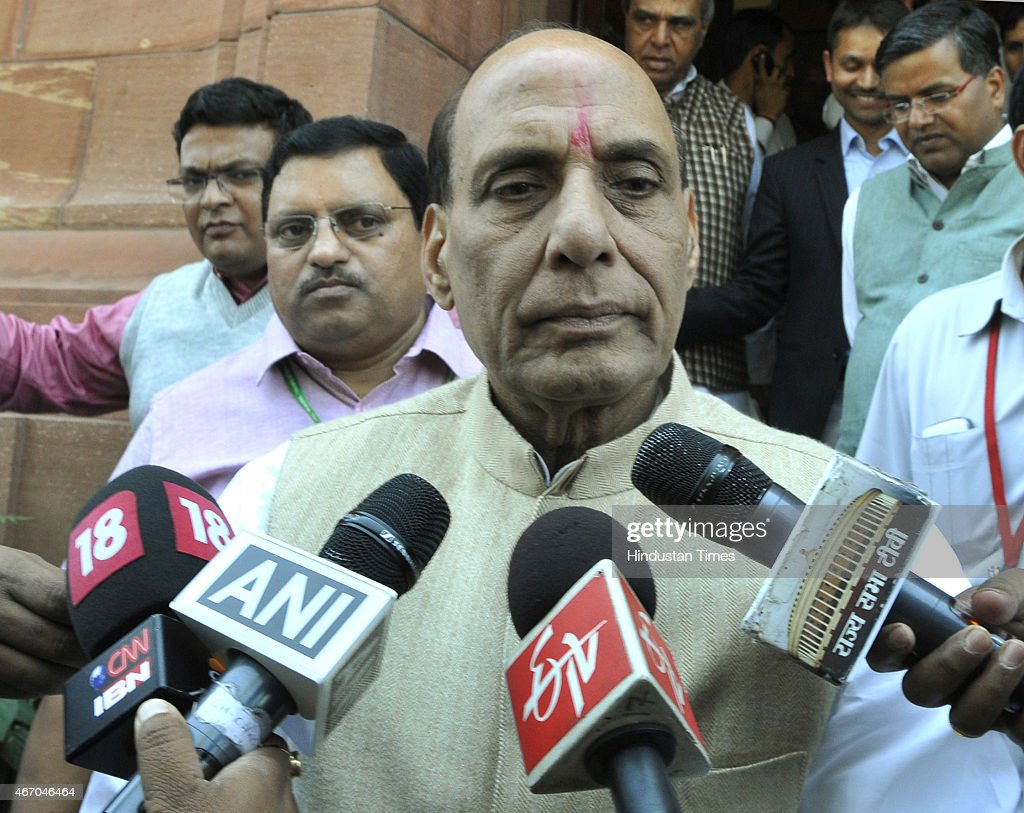 Union Home Minister <a gi-track='captionPersonalityLinkClicked' href=/galleries/search?phrase=Rajnath+Singh&family=editorial&specificpeople=582959 ng-click='$event.stopPropagation()'>Rajnath Singh</a> talking to media personnel regarding Kathua terror attack on a Police Station during Budget Session of Parliament on March 20, 2015 in New Delhi, India. Upper House of Parliament passed the Mines and Minerals Development and Regulation (MMDR) Amendment Bill, 2015
