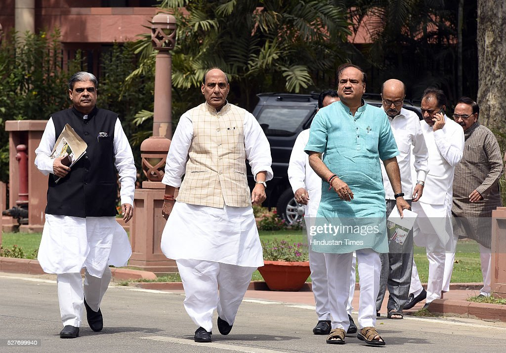 Union Minister of Health and Family NEW DELHI, INDIA - MAY 3: Union Home Minister Rajnath Singh, ( C) Union Minister of Chemicals and Fertilizers Ananth Kumar ( L) Minister of State for Home Affairs Haribhai Parthibhai Chaudhary ( R) after attending BJP parliamentary Board Meeting at Parliament Library on May 3, 2016 in New Delhi, India. With the BJP mounting an offensive against Congress vice-president on the AgustaWestland VVIP chopper bribery case, Rahul Gandhi on Wednesday said he is happy to be targeted.