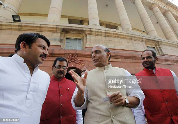 Union Home Minister Rajnath Singh with BJP MPs Manoj Tiwari Bharat Singh and Ramesh Bidhuri during budget session of Parliament House on March 12...