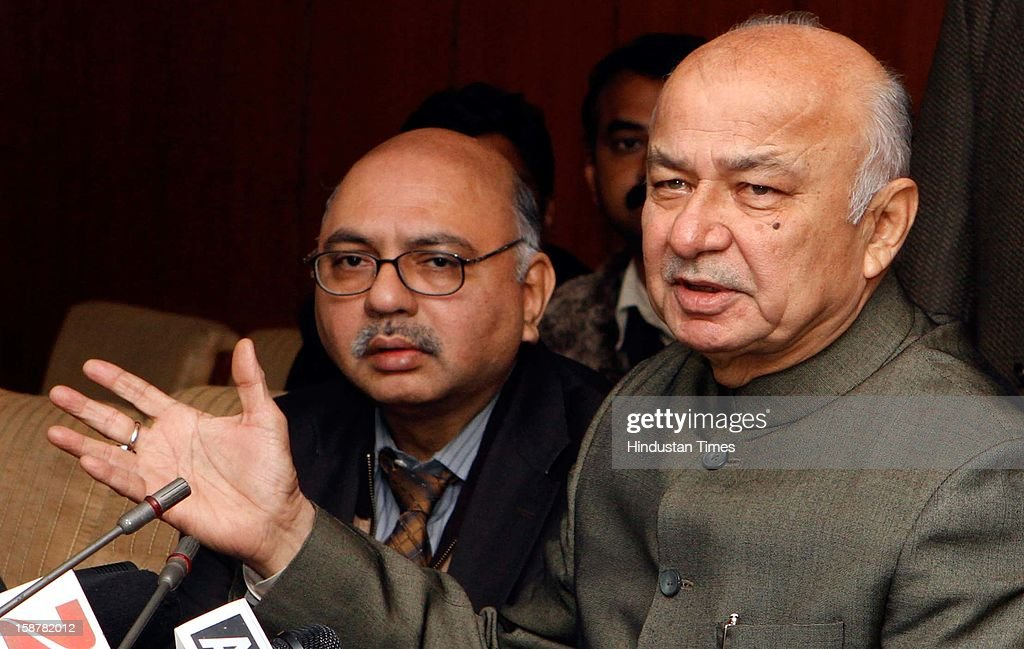 Union Home Minister Sushil Kumar Shinde addressing a press conference after an all-party meeting on Telangana issue at North Block on December 28, 2012 in New Delhi, India. Sushilkumar Shinde today announced in New Delhi that there will be decision within one-month on the Telangana statehood demand.