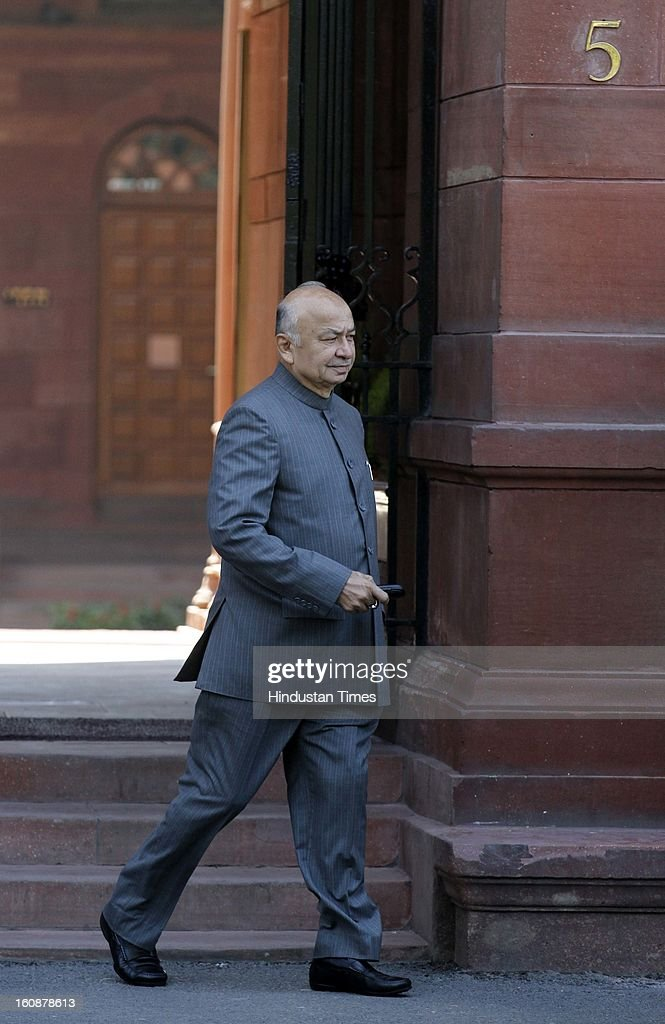 Union Home Minister Sushilkumar Shinde coming out after Cabinet Meeting at South Block, on February 7, 2013 in New Delhi, India.