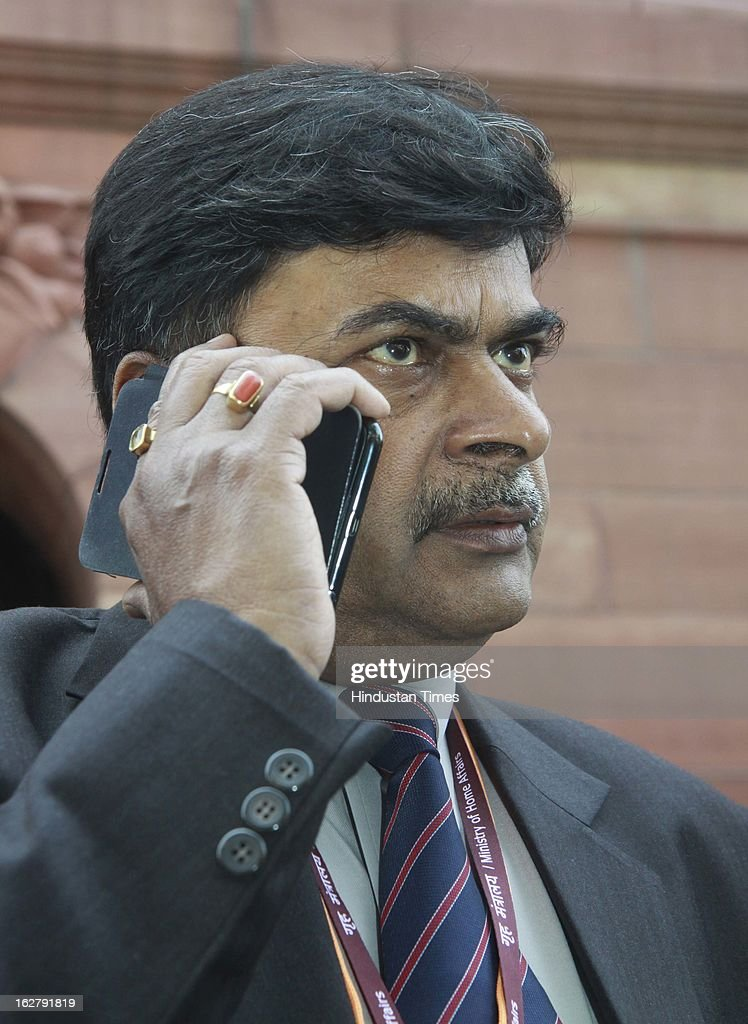 Union Home Secretary R K Singh comes out after attending a meeting with Home Minister on the issue of Arun Jailtley phone tapping, at Parliament House on February 27, 2013 in New Delhi, India. The Delhi Police constable and a private detective were arrested by Delhi Police fortnight ago over the alleged attempt to tap phone calls of the Leader of Opposition in the Rajya Sabha, Arun Jaitley.