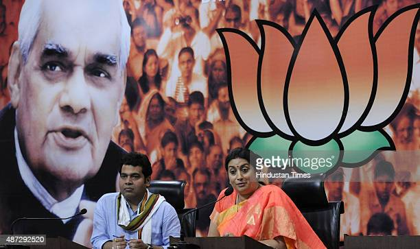 Union HRD Minister and BJP leader Smriti Irani hits out during a press conference after Sonia Gandhi attacked Prime Minister Narendra Modi on...