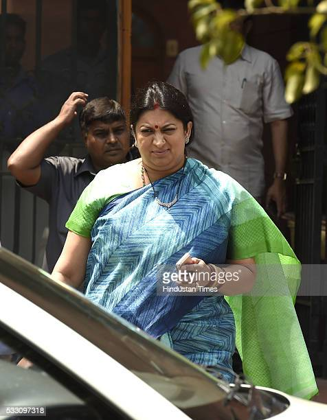 Union HRD Minister Smriti Irani after Cabinet Meeting at Prime Minister's Office South Block on May 20 2016 in New Delhi India The Centre today...