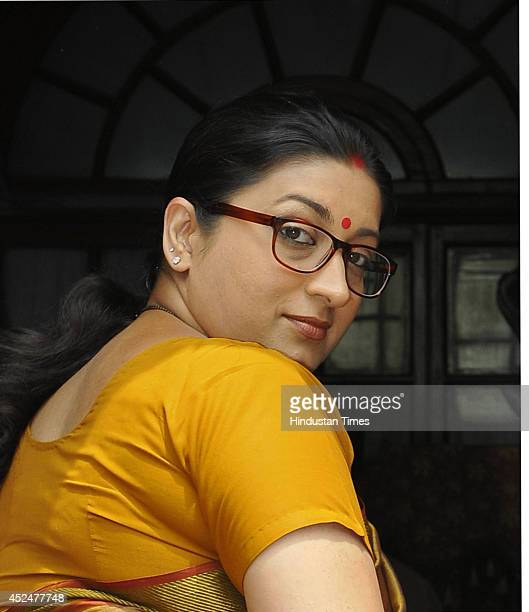 Union HRD minister Smriti Irani at the Parliament during budget session on July 21 2014 in New Delhi India The government rejected calls for a...