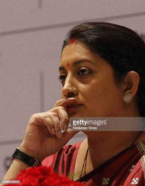 Union HRD Minister Smriti Irani during the first day of the 10th Federation of Indian Chambers of Commerce and Industry's Higher Education Summit on...
