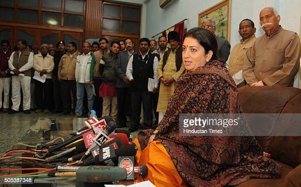 Union HRD Minister Smriti Irani interacts with media personnel at HL Guest House on January 17 2016 in Amethi India Irani who had lost to Rahul...