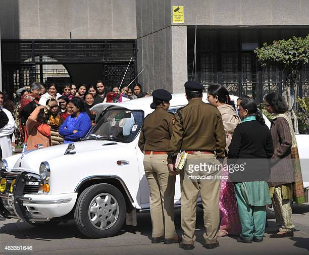 Union HRD Minister Smriti Irani who has been a student of the school visits the school after unidentified persons ransacked Principals office and...