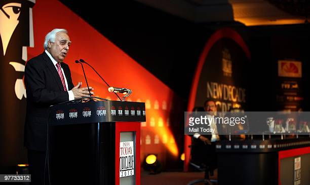 Union human resource development minister Kapil Sibal speaks at the India Today Conclave in New Delhi on March 12 2010