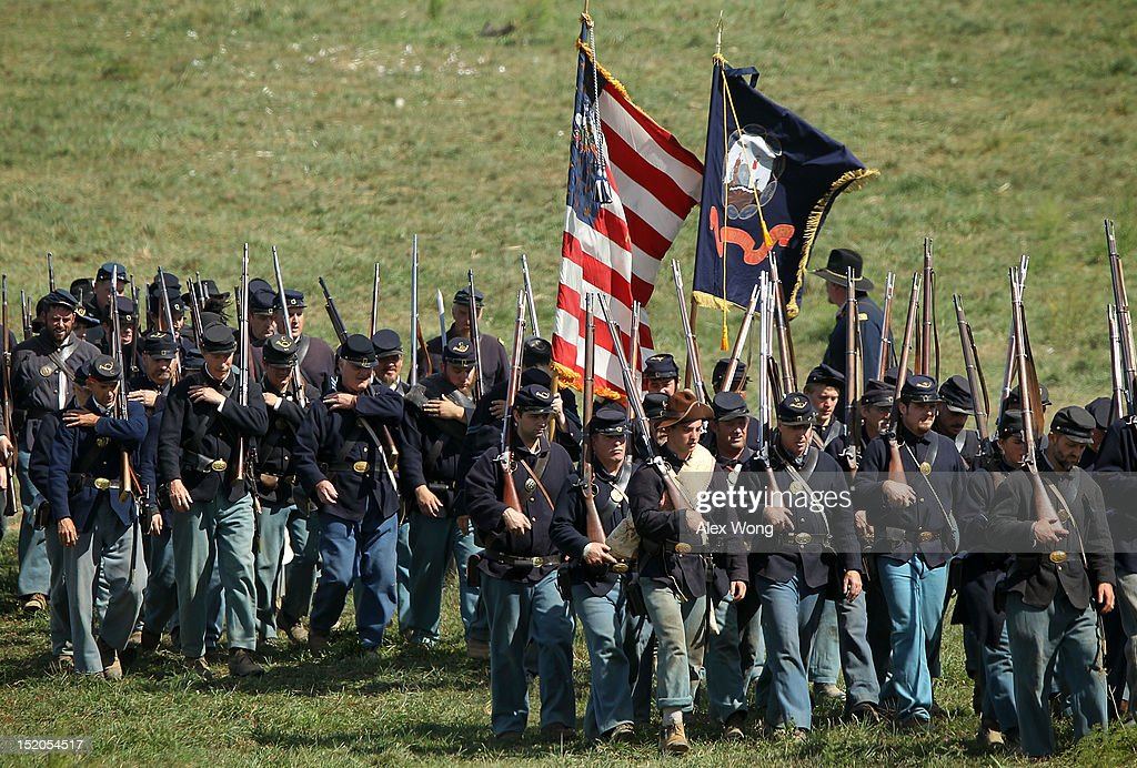 Union infantry re-enactors participate in the Battle of Bloody Lane during an event to mark the 150th anniversary of the Battle of Antietam September 15, 2012 in Sharpsburg, Maryland. The Battle of Antietam was fought on September 17, 1862 and was the bloodiest battle in American history with more than 23,000 men killed, wounded, and missing in one single day. It marked the end of General Robert E. Lee's first invasion of the North and led to Abraham Lincoln's issuance of the Emancipation Proclamation.