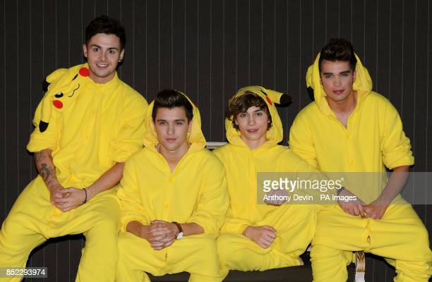 Union J Jaymi Hensley JJ Hamblett George Shelley and Josh Cuthbert pose at a press conference during the launch of Pokemon X and Y for Nintendo DS at...
