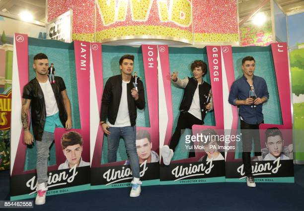 Union J Jaymi Hensley Josh Cuthbert George Shelley and JJ Hamblett launch their dolls during the press day for the annual Toy Fair where more than...