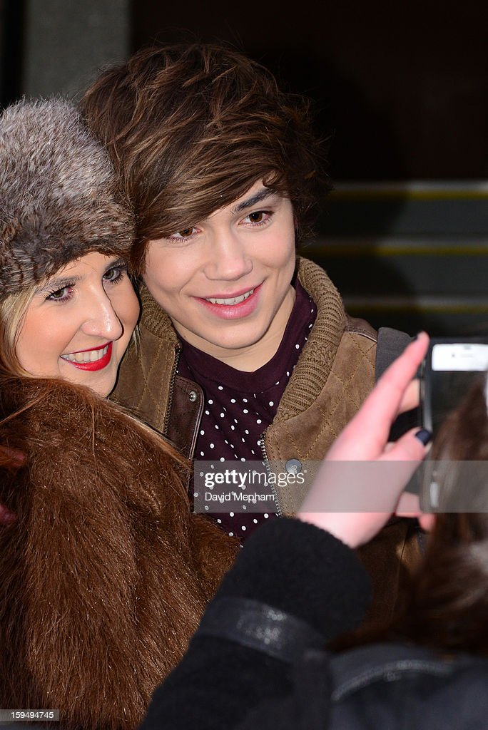 Union J member George Shelley poses for a photo as he leaves the ITV Studios on January 14, 2013 in London, England.