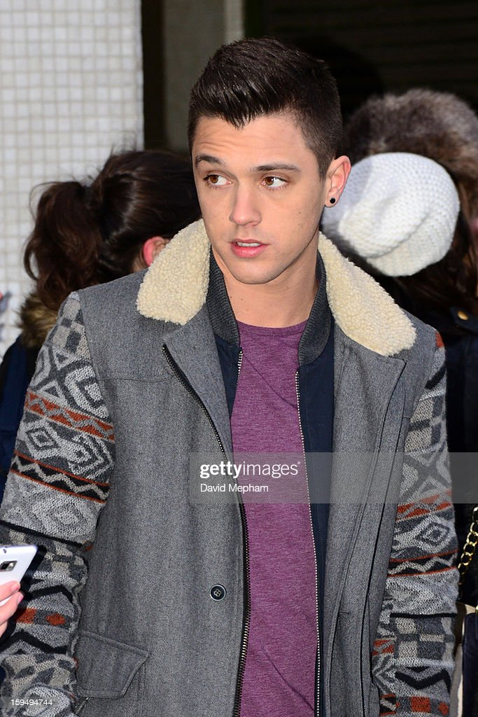 Union J member Jamie Hamblett leaves the ITV Studios on January 14, 2013 in London, England.