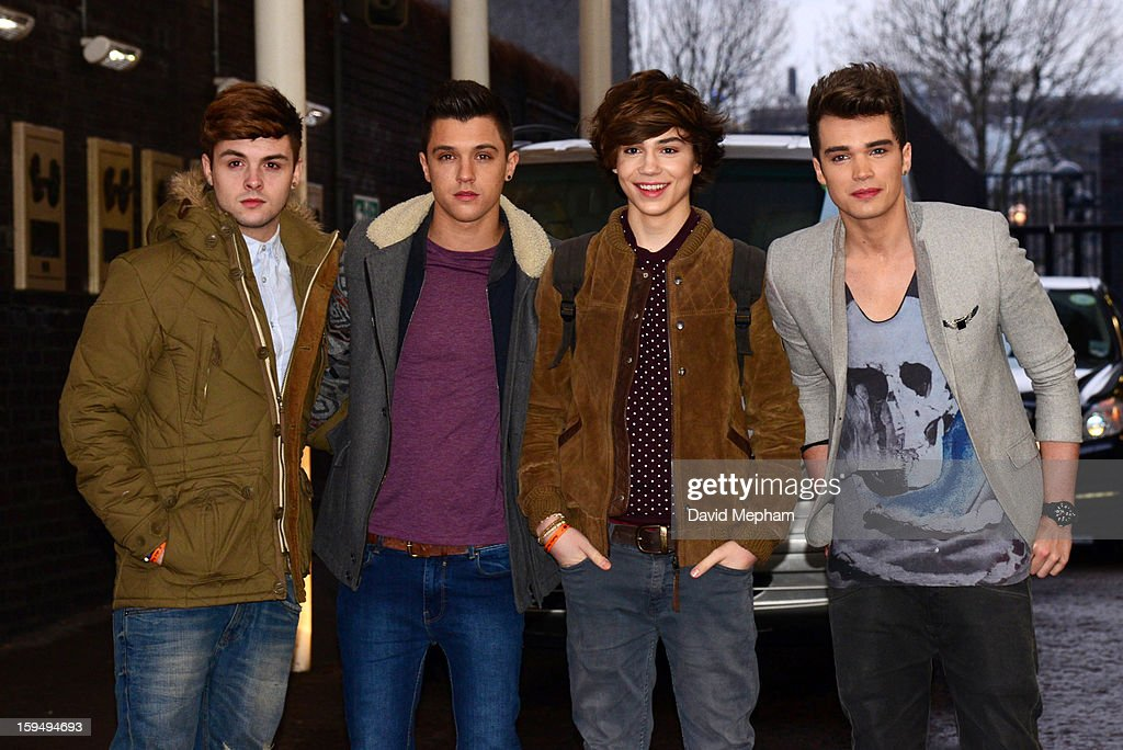 Union J members (L-R) <a gi-track='captionPersonalityLinkClicked' href=/galleries/search?phrase=Jaymi+Hensley&family=editorial&specificpeople=9773786 ng-click='$event.stopPropagation()'>Jaymi Hensley</a>, Jamie Hamblett, <a gi-track='captionPersonalityLinkClicked' href=/galleries/search?phrase=George+Shelley+-+Singer&family=editorial&specificpeople=13633342 ng-click='$event.stopPropagation()'>George Shelley</a> and Josh Cuthbert pose as they leave the ITV Studios on January 14, 2013 in London, England.