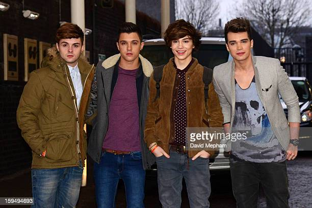Union J members Jaymi Hensley Jamie Hamblett George Shelley and Josh Cuthbert pose as they leave the ITV Studios on January 14 2013 in London England