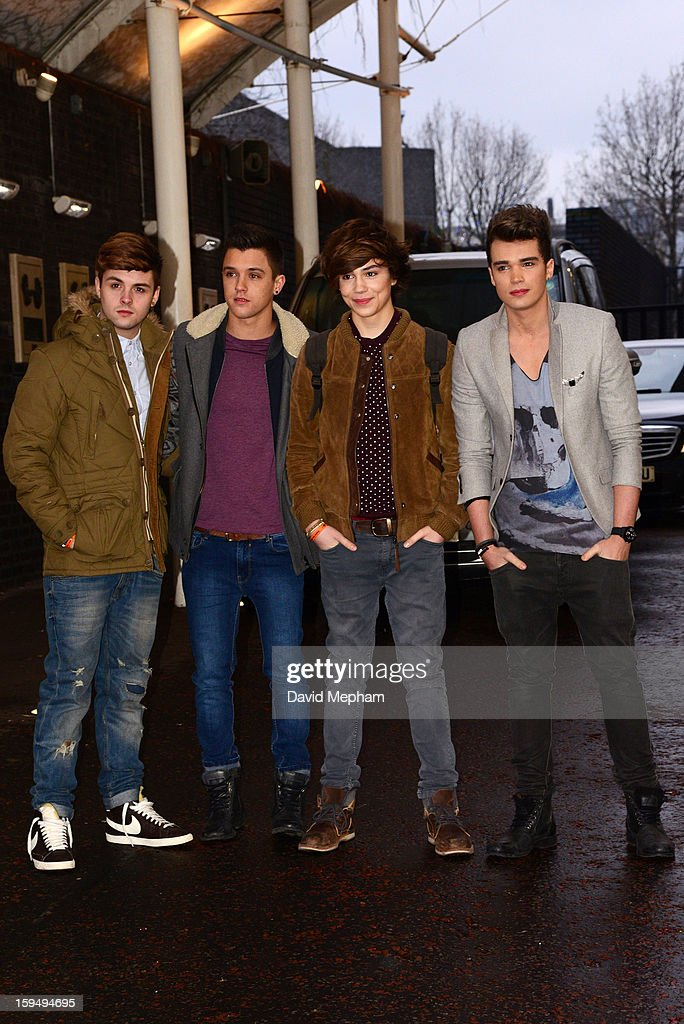 Union J members (L-R) Jaymi Hensley, Jamie Hamblett, George Shelley and Josh Cuthbert pose as they leave the ITV Studios on January 14, 2013 in London, England.